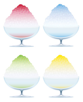 Illustration set of shaved ice