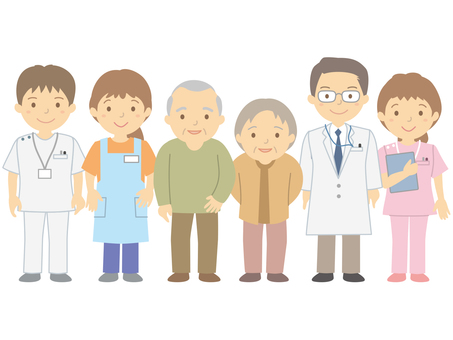 Elderly people, caregivers and medical personnel