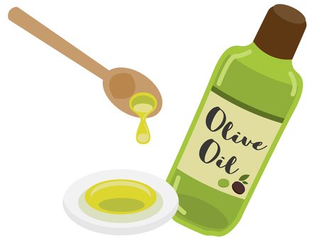 Olive oil and spoon