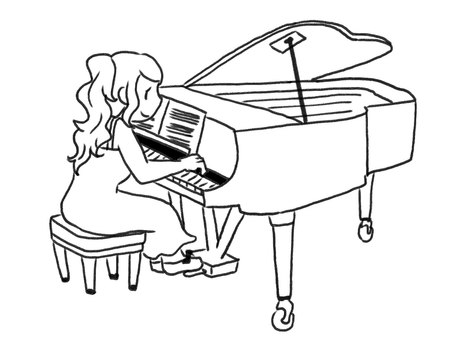 [Black and white] Woman playing the piano [Line drawing]