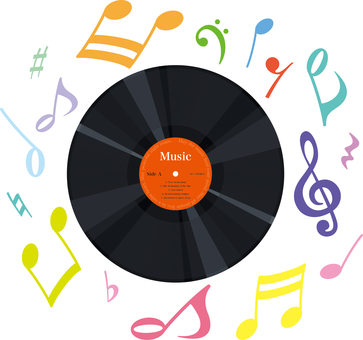 레코드 LP 판과 음표 음악