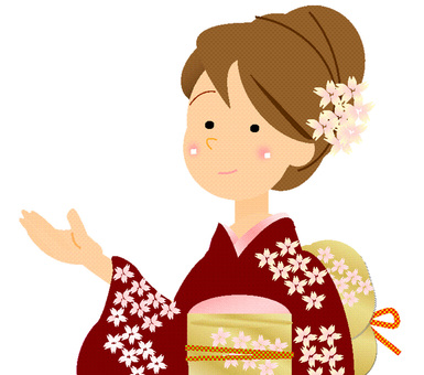 Women in Japanese clothing ② Wine