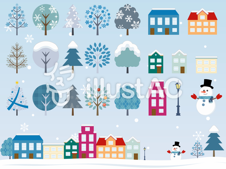 冬の街並みのイラスト