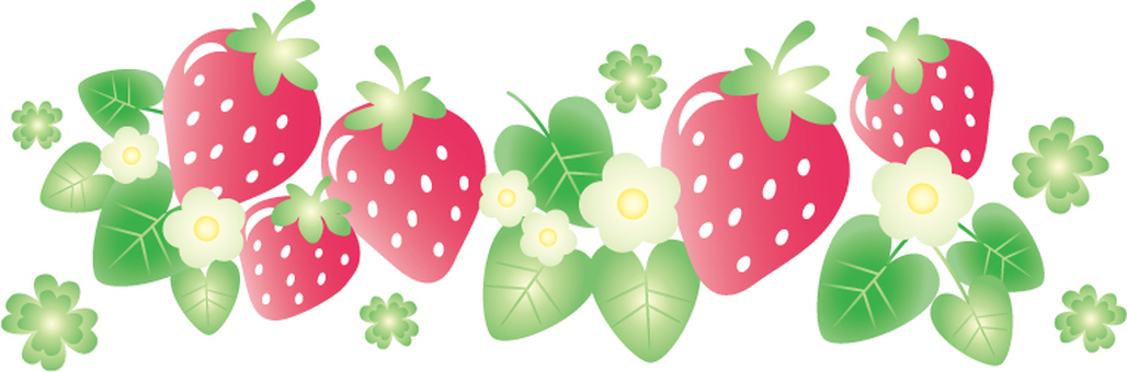 Strawberry and flowers and clover illustration