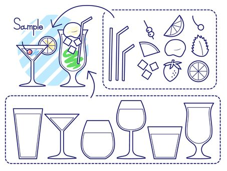Drink and cocktail set (line drawing)