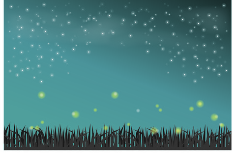 Starry sky, grass and fireflies