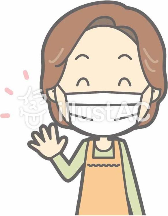 中年主婦a-マスク-バストのイラスト