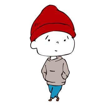 Red knit cap boy