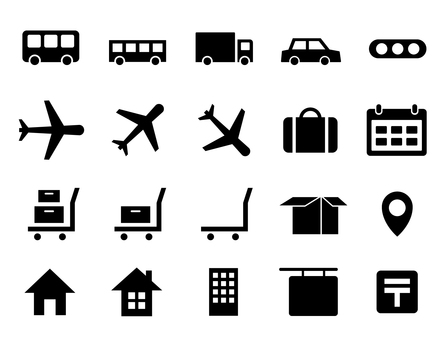 Icons set of vehicles, transportation, transportation, etc.