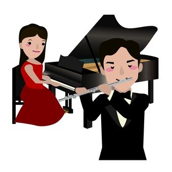 Male flute player and female pianist