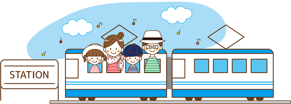 Family 4 people _No.04 outing train