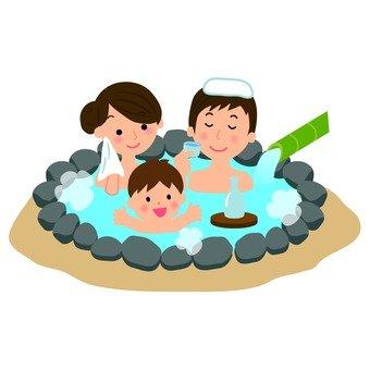 A family entering a hot spring