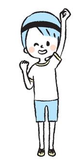 一個歡呼的男孩的插圖