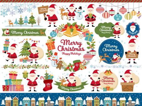 聖誕老人與聖誕節插圖和各種姿勢
