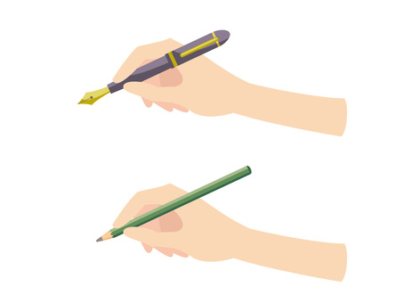Hand with a fountain pen · Hand with a pencil