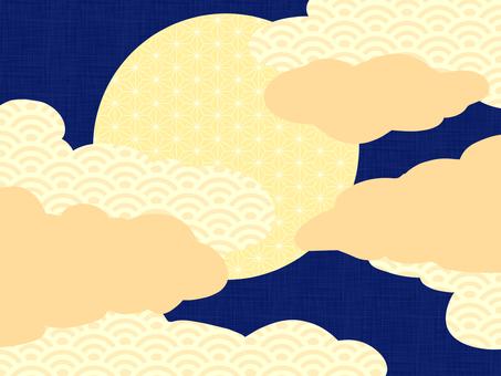 月と雲の和風背景素材/青b