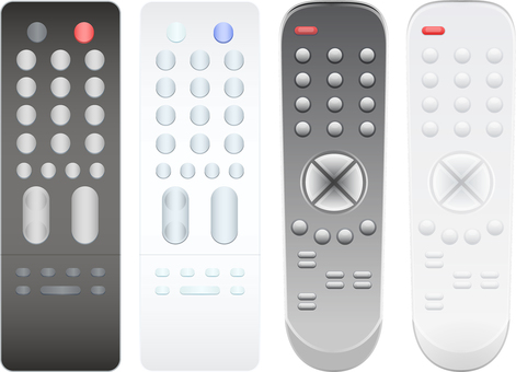 Television remote control black and white set of 4