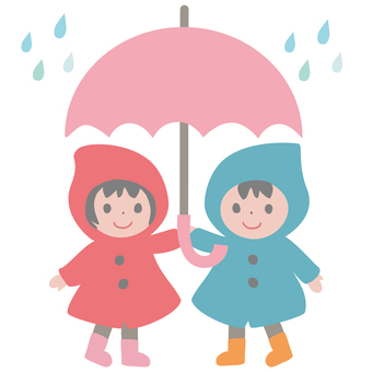 Children wearing a raincoat