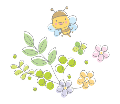 Spring of bees and flowers