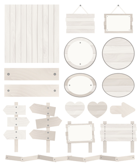 Wooden decoration set ♡ White