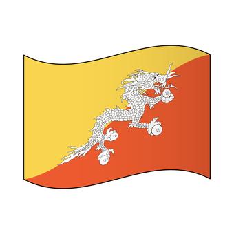 Bhutan national flag / flapping