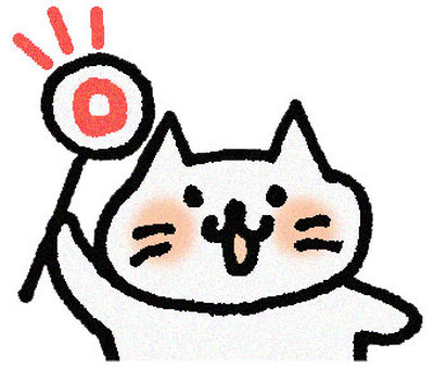 A cat holding a circle mark (upper body)