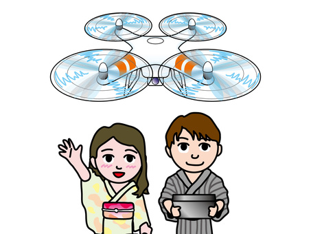 Yukata couple maneuvering drone
