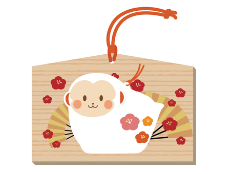 An ema of a monkey's ornament