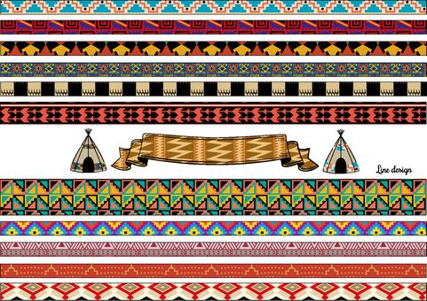 Line design set ethnic colors