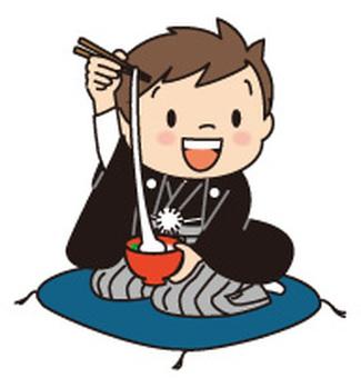 お雑煮を食べる和服の男の子