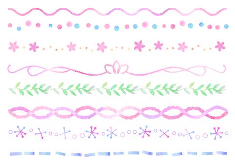 Watercolor material 008 line set