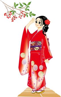 Women kimono illustration