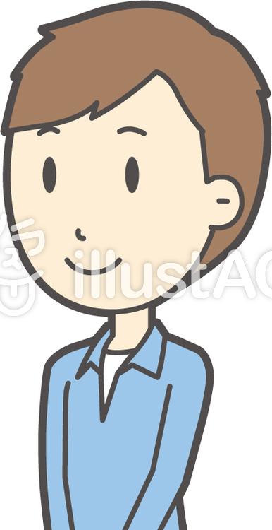 ブルー襟シャツ男性-248-バストのイラスト
