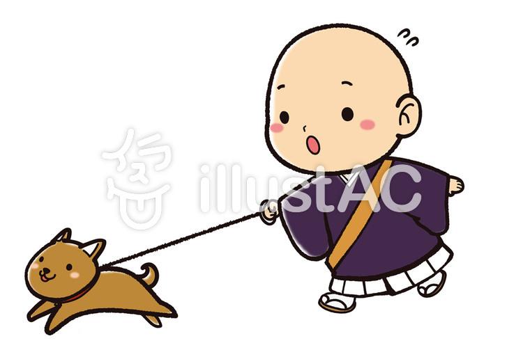 犬を散歩させるお坊さんイラスト No 813964無料イラストなら
