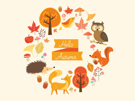 Autumn animals and plant illustration