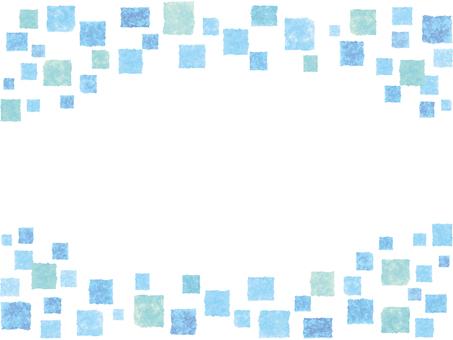水彩フレーム枠四角ドット模様背景飾り水色