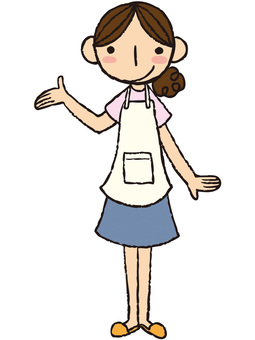 A woman of an apron (hand holding over)