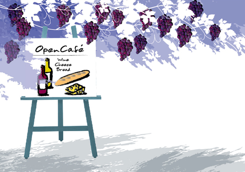 Open cafe illustration coffee and wine 3
