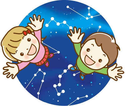 Children looking up 03 starry sky