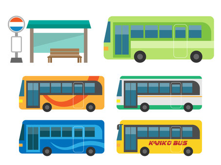 A bus stop and an assortment of buses
