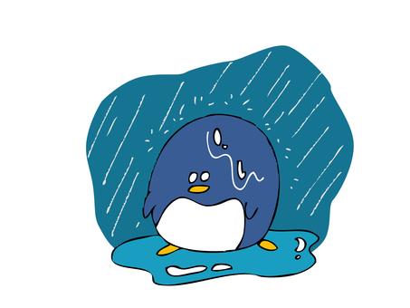 Penguin getting wet in the rain