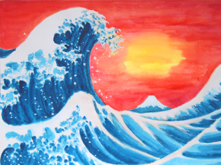 Water color large wave small wave small evening landscape