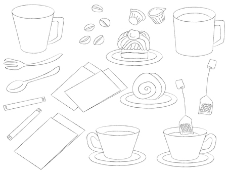 Hand-drawn cafe material