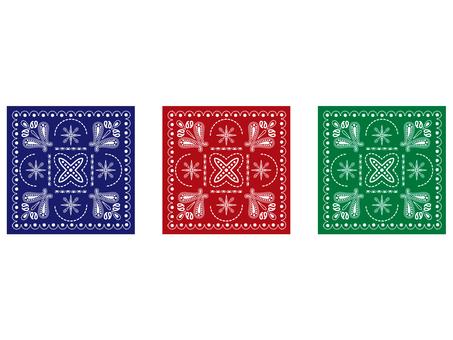 バンダナ 青赤緑