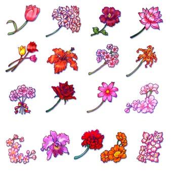 꽃의 원 포인트 (빨강)
