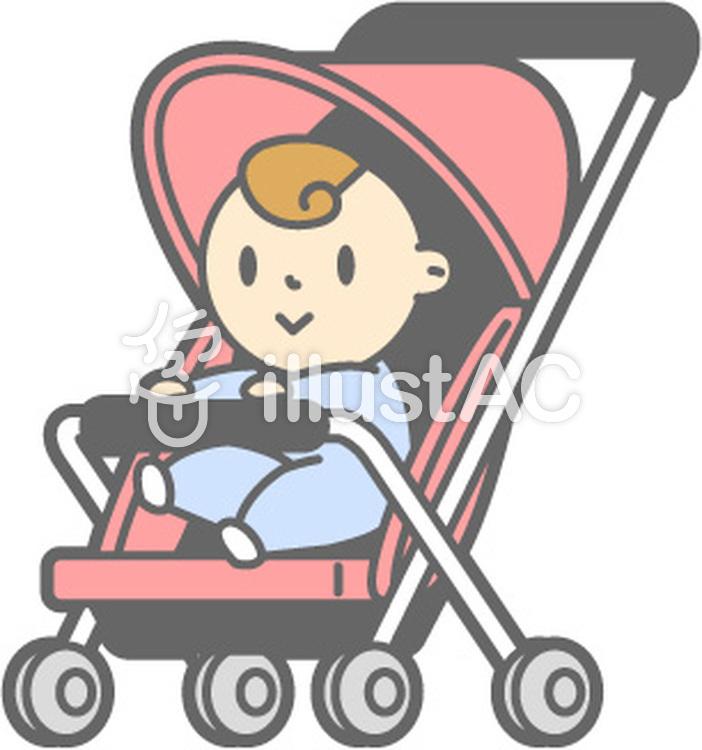 ベビーカーの赤ちゃんのイラスト