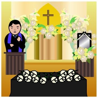 Christian style funeral (dedication flower bed)