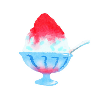Watercolor shaved ice strawberry