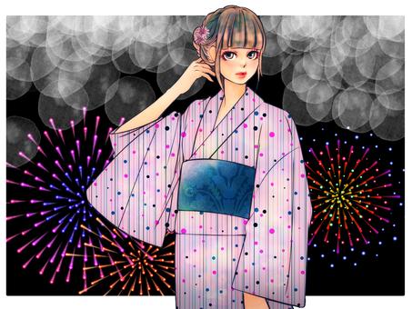 Summer Yukata Girl (Fireworks Background)