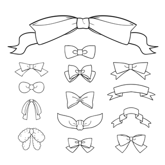 Various ribbons (line drawings)